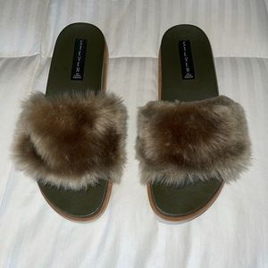 Steve Madden Faux Fur Platform Sandals